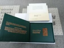 1986 Statue of Liberty Commemorative Centennial Copper Ingot Bar w/ Box & Papers