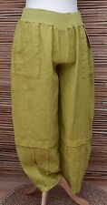 LAGENLOOK 100% LINEN OVERSIZED HAREM TROUSERS/PANTS*OLIVE-LIME* Size L-XL-XXL