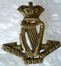 Badge- VICTORIAN The Royal Irish Regiment Cap Badge QVC (All BRASS* Org) 2 Lugs