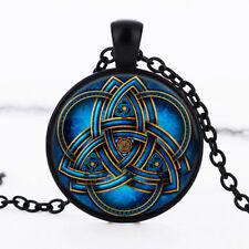 Vintage Women Men Blue Celtic Triquetra Glass Black Pendant Necklace Jewelry