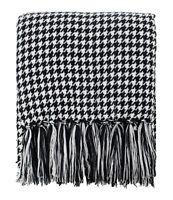 "Fennco Styles Black & White Houndstooth Fringe Soft Throw Blanket, 50""W x 60""L"