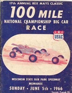State Fair Park Spdwy USAC Indy Car Race Program 6/5/1966-Rex Mays-AJ Foyt-FR/G