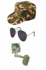 Military Men's Army Hen Fun Night Cameo G.I Jane Combat Fancy Dress Accessories