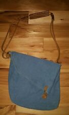 Vintage Messenger Bag Crossbody Canvas leather detail fold-over blue Women's XL