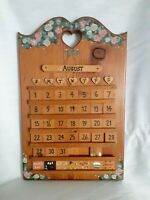Vintage Hand Painted Wooden Perpetual 12 Month Calendar 'THE THOMAS''