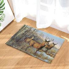 New Christmas Deer In Forest Flannel Bathroom Rug Non-Slip Floor Indoor Door Mat