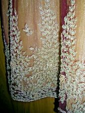 ANTIQUE INDIAN BURGUNDY SILK ORGANZA DRESS GOLD THREAD EMBROIDERED VINTAGE TOP