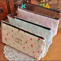 Retro Cute Flower Floral Pencil Pen Cosmetic Makeup Storage Bag Pouch Case Purse