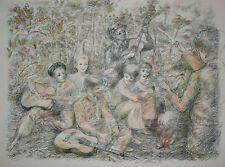 Lucien Philippe  MORETTI-Lithographie-Sac de billes Joffo, chanson dans la forêt