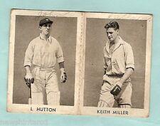 1940s RADIO FUN CRICKET  CARDS - #14 KEITH MILLER & #13 LEN HUTTON