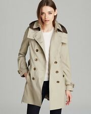 NEW $995 Burberry Reymoore Double-Breasted Hooded Trench Coat with Liner, Sz 14