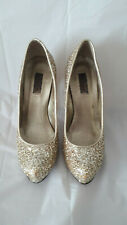 DUNE PLATFORM SHOES WITH  'CHUNKY STILETTO HEEL' - SIZE 5 - GOLD GLITTER