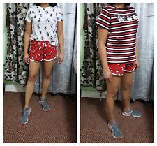 Women's Minnie Mouse T-Shirt Top & Ladies Girls Disney Running Short Hot Pants