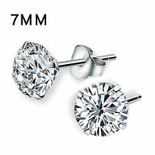 Women Genuine 925 Solid Sterling Silver Cubic Zirconia Round Stud Earrings New