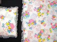 Vintage SEARS Quilted Baby Blanket Quilt AND Pillow Puppy Kitten Pig ABCs EUC