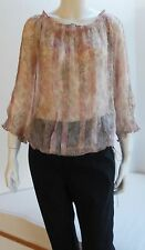 REBECCA TAYLOR  SILK Sheer Floral Blouse - Long Sleeves - Tie at Hem - Size 10