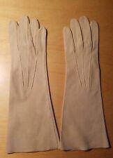 "Vtg Edelweiss Guibert Freres Beige Kid Suede Gloves 6 3/4 12"" New"