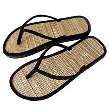 New Women's Straw Bottom Flip Flop Flat Thong Sandals Black White Size 6-9