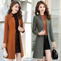 Women's Wool Blend Trench Coat Korean Style Mid-Length Winter Slim Fit Jacket