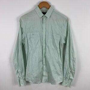 Ben Sherman Mens Button Up Shirt Size Small Green Long Sleeve Collared 23.10
