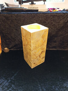 Very Large Square Pillar Mother Of Pearl / Shell Candle Stick Holder Ivory Cream
