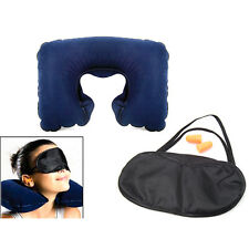 Travel Neck Cushion Inflatable Air Pillow With Eye Mask Earplugs For Sleep