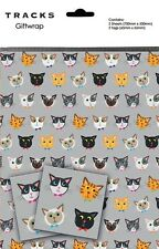 Gift Wrap Present Wrapping Paper Cute Cats Kittens On Grey With Matching Tags