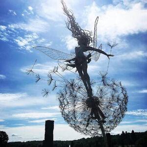 Dancing Fairy Dandelion Statue Ornament Garden Stakes Sculpture Decor