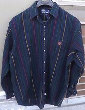 POLO RALPH LAUREN Vintage Mens Casual Button up Multi Color Striped Shirt large