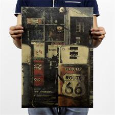 66 road gas station kraft paper poster customer bedroom background wall sticke I