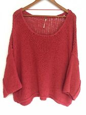 Free People Orange Pop Loose Knit Slouch Sheer Cropped Pullover Boho Sweater M