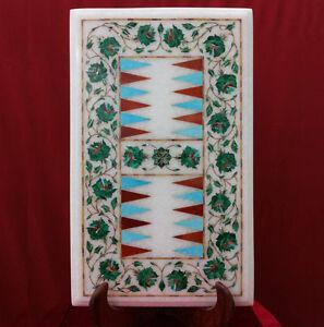 "18"" x 12"" Marble Backgammon Table Top Inlay Handmade Work Home Decor"