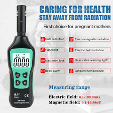 Emf Meter Electromagnetic Field Radiation Detector 5hz3500mhz With 3 Levels Lcd