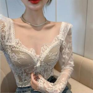 Womens New Sexy Floral Lace Long Sleeves Slim Fit Bustier Corset  Blouse Top SKG