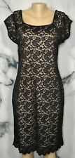 COLDWATER CREEK Black Lace Cap Sleeve Dress 14 Nude Lining Scalloped Hem