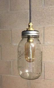 Vintage Retro Glass Mason Jam Jar Ceiling Light Brass Pendant Shade Lighting
