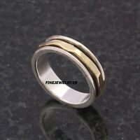 925 Sterling Silver Spinner Ring Wide Band Ring Meditation Handmade Jewelry PQ10