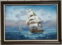 "Seascape Ship Boat Oil Painting on Canvas signed Baillie 41""x 29"""