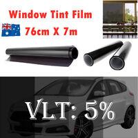 Window Tint Film Black Commercial Car Auto House Glass 76cm X 7m VLT 5% Tool Kit