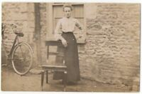 021121 VINTAGE RPPC REAL PHOTO POSTCARD WOMAN WITH BICYCLE