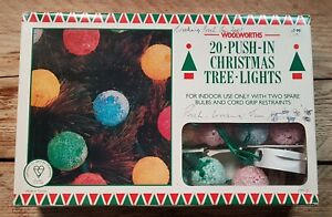 20 Woolworths Snowball/Sugar Coated Christmas Tree Lights Working Boxed Vintage