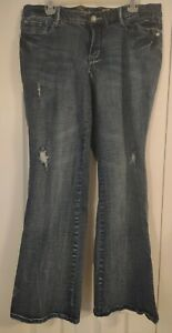 Women's Jeans-Distressed-Accented-Med Wash-Mid Rise-Stretch-Size 16 -Seven 7