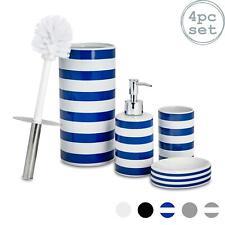 Bathroom Accessories Set 4 pcs - Soap Pump, Dish, Tumbler & Brush - Blue / White