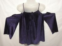 LAUNDRY by SHELLI SEGAL Velvet Cold-Shoulder Top in purple  LARGE NWT