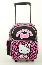 "Hello Kitty Toddler Rolling BackPack 12"" - wheel School Bag Ribbons Black / Pink"