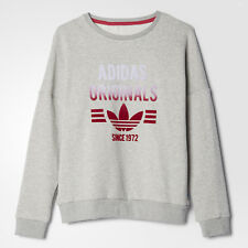 adidas Originals girls grey crew neck sweat top with logo. Various sizes!