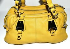 B Makowsky Yellow Pebbled Soft Leather with 3 Separate Sections Tote Bag