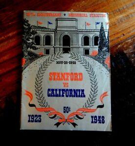 1948 STANFORD INDIANS VS CALIFORNIA BEARS BIG GAME COLLEGE FOOTBALL PROGRAM NICE