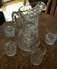 ANTIQUE VICTORIAN AMERICAN BRILLIANT ♡ CUT GLASS CRYSTAL PITCHER WITH 4 GLASSES