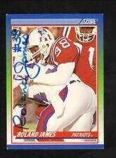 Roland James--Autographed 1990 Score Football Card--New England Patriots